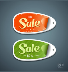 Orange and green labels paper for sale vector