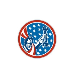 American patriot mechanic holding spanner circle vector