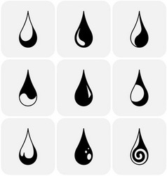 Set of water drops of different kind vector