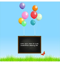 Blackboard flying with balloons on a spring vector
