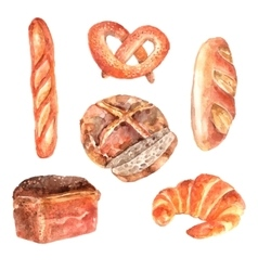 Fresh bread watercolor icons set vector
