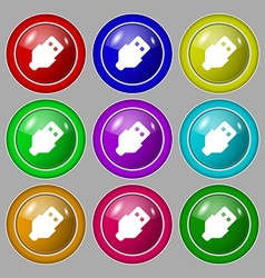 Usb icon sign symbol on nine round colourful vector