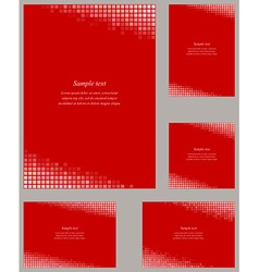Red mosaic page corner design template set vector