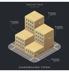 Isometric cardboard building icon vector