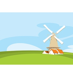 Windmill in nature vector