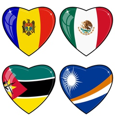 Set of images of hearts with the flags of Marshall vector image