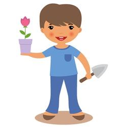 Boy gardening vector image