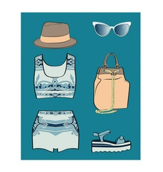 Porcelain summer outfit set vector