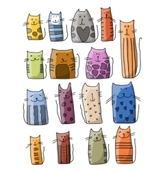 Colorful cats collection sketch for your design vector