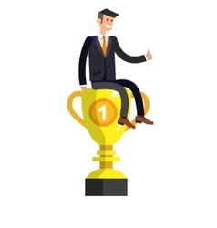 Leader wins a golden cup happy winning vector