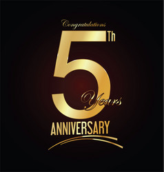 Anniversary golden sign 5 years vector