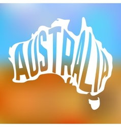 Australian map with text inside on blur background vector image