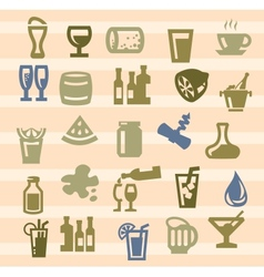 beverages icons vector image vector image