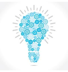 blue gear make bulb shape vector image vector image