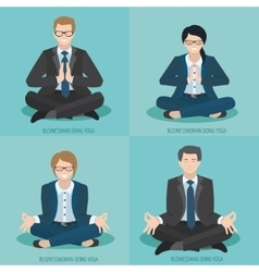 Business people do yoga vector