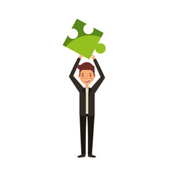 businessman with puzzle piece avatar character vector image vector image
