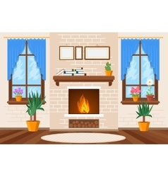 Classic living room interior with fireplace and vector image vector image