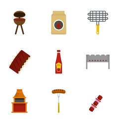 Cooking on fire icons set flat style vector
