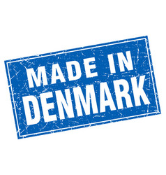 Denmark blue square grunge made in stamp vector