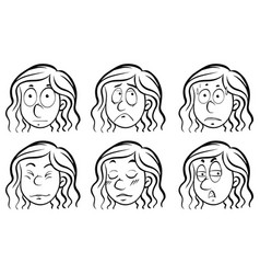 female face with different emotions vector image vector image