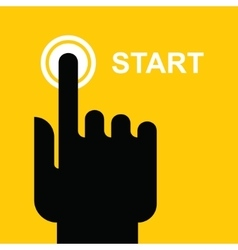 finger presses the start button vector image vector image