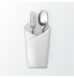 Folded envelope napkin with silver fork and spoon vector