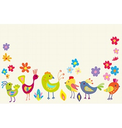 Funny Cartoon Color Birds vector image