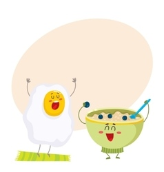 Funny fried egg and bowl of cereal characters vector