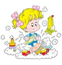 girl washing dishes vector image vector image