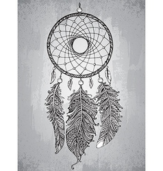 Hand drawn dream catcher with feathers in vector image vector image