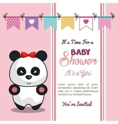 Invitation baby shower card with panda girl desing vector