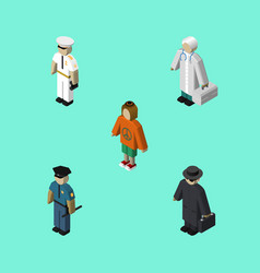 isometric person set of detective lady officer vector image