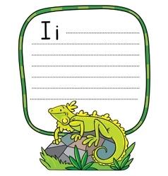 Little iguana for abc alphabet i vector