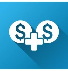 Money sum gradient square icon vector