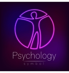Neon logo modern man sign of psychology human in vector
