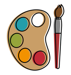 Paint pallette with brush vector