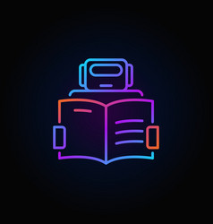 Robot with a book icon - colorful outline vector