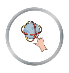 Rotation of globe in virtual reality icon in vector image