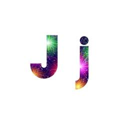 Set of letters firework J vector image