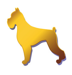 Silhouette of gold dog isolated on white vector