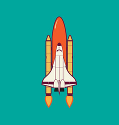 Space shuttle launch with vintage vector