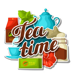 Tea time background with tea and accessories vector