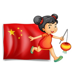 The flag of China at the back of the young Chinese vector image vector image