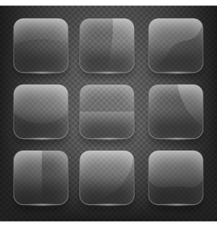 Transparent glass square app buttons on checkered vector image vector image