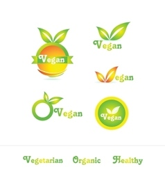 Vegan logo badge icon set vector image