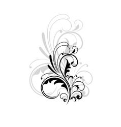 Vintage swirling foliate design element vector