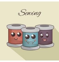 Stitching yarns character icon vector