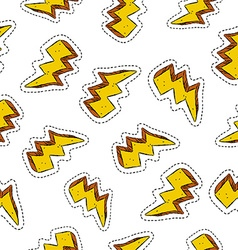 Thunder ray retro patch icon seamless pattern vector image