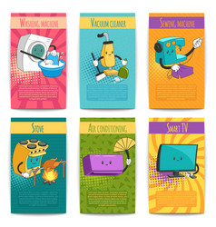 comic posters with household appliances vector image