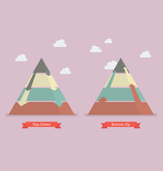 Top down and bottom up pyramid business strategy vector